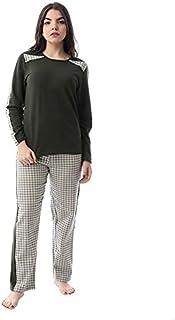 Andora Cotton Long Sleeves Contrast Yoke Top with Plaid Pants Pajama Set for Women