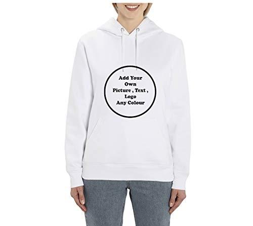 Sudadera con capucha de algodón orgánico, personalizable, unisex, para hombre, mujer, parte delantera y trasera, cada foto de cualquier texto, unisex, algodón orgánico, supermersia