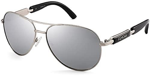 Gafas de sol de conducción piloto polarizadas con espejo con marco de aleación premium para hombre y mujer Gafas de moda ligeras con montura redonda Gafas divertidas Gafas de sol polarizadascon espejo