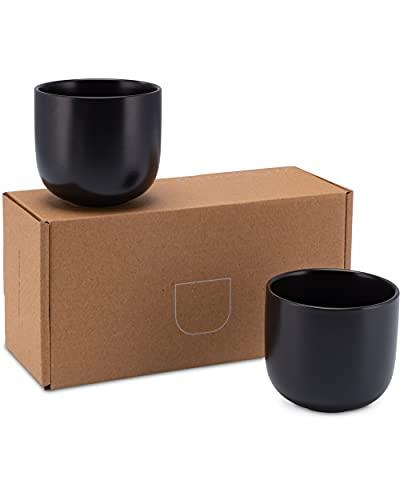 Lambda Coffee® Cappuccino Tassen Set 2 x 380ml in Schwarz matt aus Keramik | Milchkaffeetassen für Kaffee und Cappuccino | Mokkatassen rund und groß | auch für Espresso | Spülmaschinen geeignet