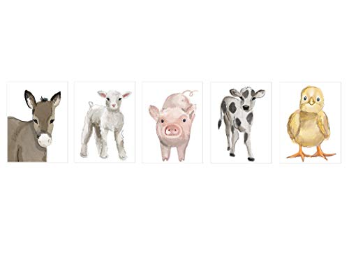Nursery Baby Farm Animals Unframed Prints- Set of 5 (8 x10 ) - Decor - Wall Art - Prints - Watercolor