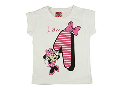 Mädchen Baby Kinder vierter Geburtstag Kurzarm T-Shirt 1 Jahr Baumwolle Birthday Outfit GRÖSSE 86 Minnie Mouse Disney Design und Glitzer in Weiss oder Rosa Babyshirt Oberteil Farbe Weiss Farbe Weiss