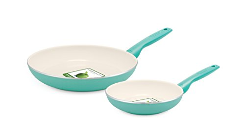 GreenPan Rio Ceramic Non-Stick Fry Pan, 8 and 10, Turquoise by The Cookware Company