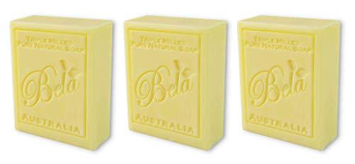 Bela Bath & Beauty, Honeysuckle, Triple French Milled Moisturizing Soap Bars, No Harsh Ingredients, 3.5 oz each - 3 Pack