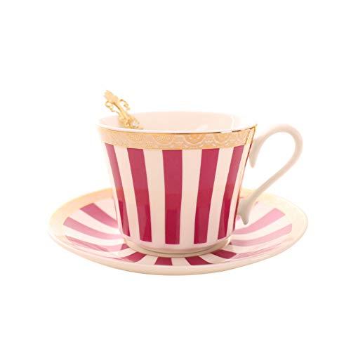 PLDKFB Kaffeetasse Streifen Kaffeetasse Untertasse Gold Löffel Set Elegante Keramik Teetasse 225 Ml Porzellan Teetasse Cafe Drinkware, Red Piano