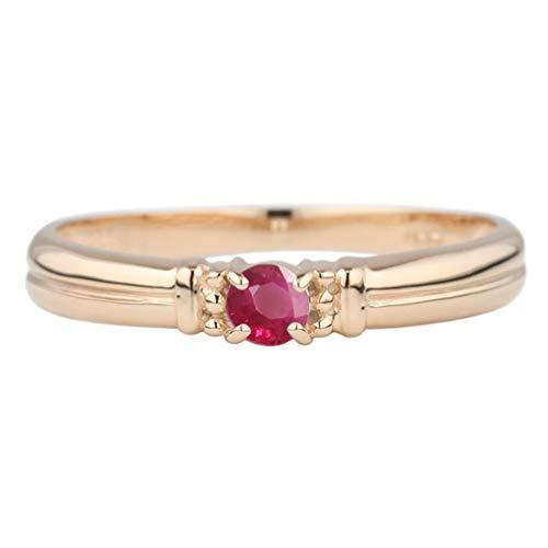 (リュイール) 指輪 レディース 人気 ルビー リング 10金 人気 リング 一粒 カラーストーン 誕生日 プレゼント 彼女 k10ピンクゴールド サイズ 10.5号