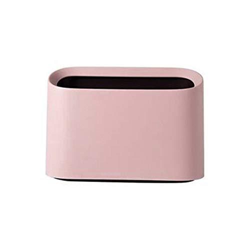 GAOwi Desktop Mülleimer, modern, oval, bruchsicher, Kunststoff, PP, doppelschichtig, Mini-Tisch-Müll-Aufbewahrungsbox, Abfalleimer mit Druckring, Rosa