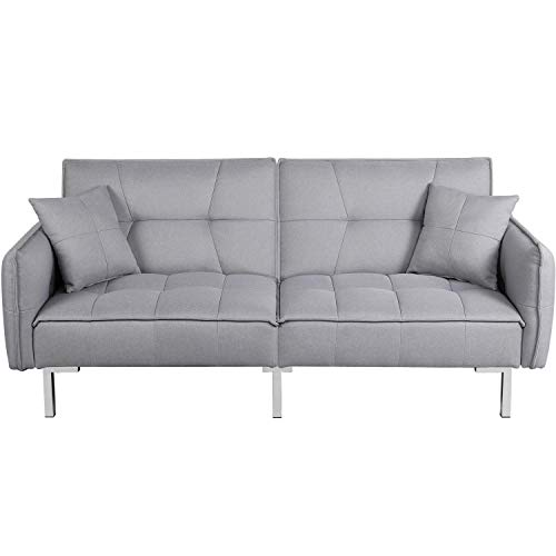 YAHEETECH Sleeper Sofa Couch Bed Convertible Sofa Modern Futon Couches Sofas Bed Fold Up and Down Linen Fabric Recliner Couch for Living Room Gray