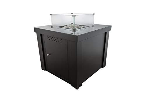 Braséro Table Basse gaz - Parasol Chauffant Fargau Cubix 7300 Watt - Dessus Verre trempé - très Convivial (Noir)