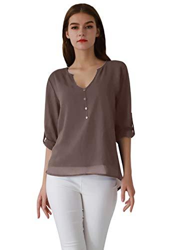 OMZIN Damen Tops Langarm Blusen Chiffon Henley Shirt V Ausschnitt Oberteile Braun XL