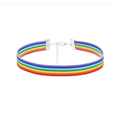 1 Adult Size Gay Pride Awareness Cotton Rainbow Choker