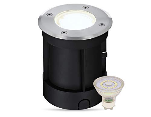 lambado® LED Bodeneinbaustrahler für Aussen IP67 - Wasserdicht & Befahrbar inkl. 3W 230V GU10 Strahler neutralweiss - Runder Bodenstrahler/Bodenleuchte aus Edelstahl für Terrasse & Garten