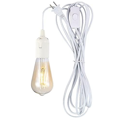 Casquillo con Enchufe y Cable Portalamparas E27 con Interruptor Se Utiliza para Colgar Candelabros Garajes Edificios Iluminación Temporal-1 blanco