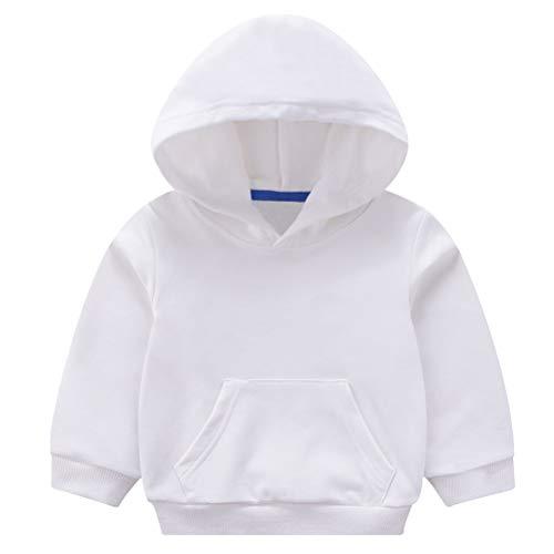 Taigood Ragazzini Bambini E Bambine Incappucciato Cappotto Cappuccio Felpa Hoodie Vestiti dei Bambini per 1-7 Anni Bianca 130 cm / 5-6 Anni