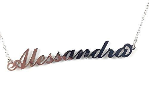Collana Donna con Nome Alessandra in Acciaio in corsivo Elegante Girocollo Regolabile Anallergico Color Argento Confezione Regalo Inclusa