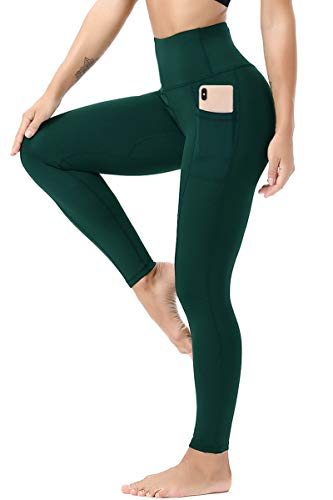 TYUIO Women's High Waisted Yoga Pants 7/8 Length Workout Leggings with Pockets XL Green