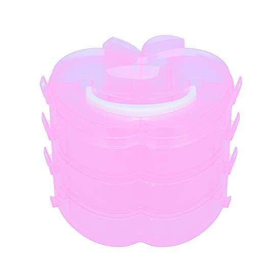 Caja de plástico para contenedores, desmontada y usada por separado Caja de almacenamiento en forma de 3 cajas Diseño en capas para almacenamiento de juguetes Almacenamiento de herramientas(Pink)