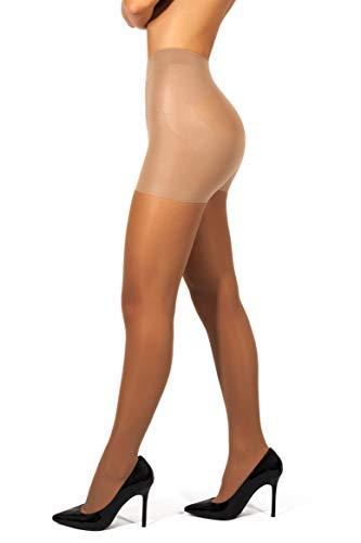 sofsy hochtaillierte figurformende Strumpfhosen - halbtransparente Strumpfhosen | 30 DEN [Made in Italy] Braun Tan 3 - Medium
