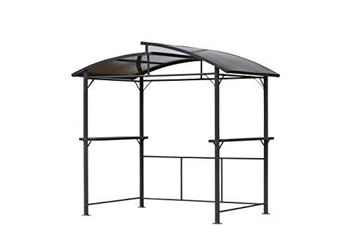 LECO Profi Grillpavillon aus Aluminium, 150 cm x 245 cm x 233 cm (L x B x H), Inkl. seitliche Ablageflächen, Pulverbeschichtung in Anthrazit, wasserdicht und wetterfest