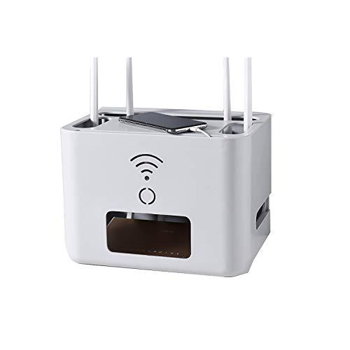 UNCTAD Diseño Humanizado WiFi Caja De Almacenamiento De Router Hecho De Material Abs, Disipación De Calor Hueca Router WiFi Inalámbrico Caja, para Dormitorio, Oficina, Etc