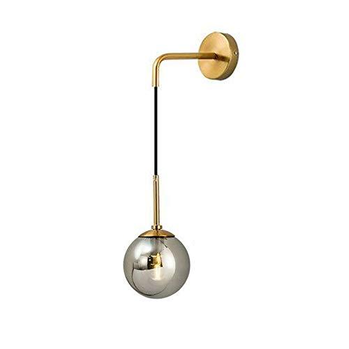 I-xun Lámpara de pared Bola de cristal Luces de pared Latón E27 Lámpara de caída Lámpara de sombra Lámpara de noche para sala de estar, dormitorio (Gris, 15cm)