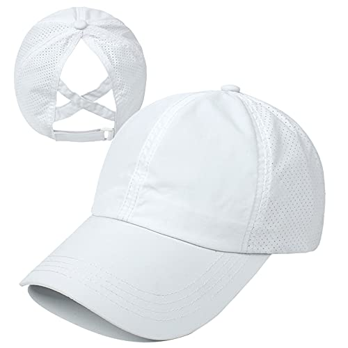 HGGE Womens Criss Cross Ponytail Baseball Cap Adjustable High Messy Bun Ponycap Trucker Hats Quick Drying Mesh Dad Hat for Outdoor Sports Travel White
