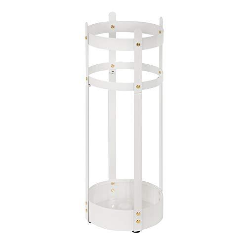 SONGMICS Schirmständer aus Stahl, runder Regenschirmständer, 19,5 x 55 cm (Ø x H), abnehmbare Abtropfschale, Flur, Büro, stabil, einfacher Aufbau, weiß LUC28WT