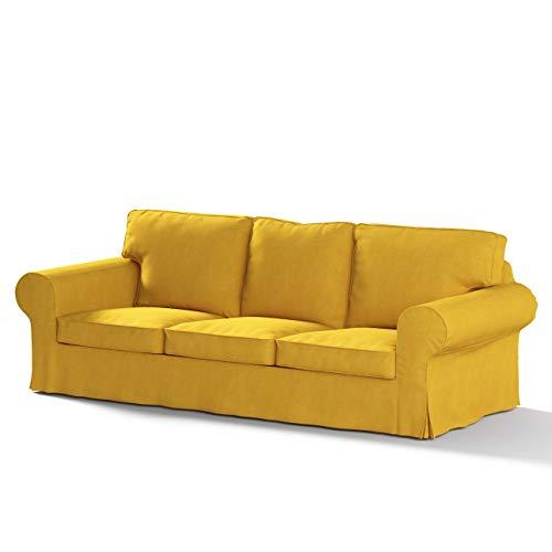 Dekoria Ektorp 3-Sitzer Sofabezug Nicht ausklappbar Sofahusse passend für IKEA Modell Ektorp senffarbe
