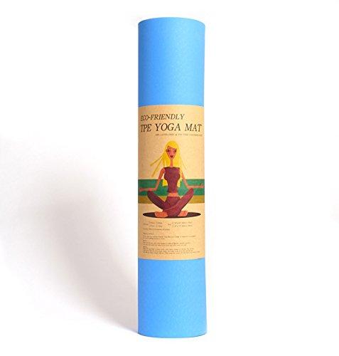Yoga-Matte Pro Blau von Epic Brands aus umweltfreundlichem TPE-Schaum. Sehr rutschfeste, schadstofffreie, hypoallergene und hautfreundliche Gymnastik-Matte, Fitness-Matte, Turn-Matte