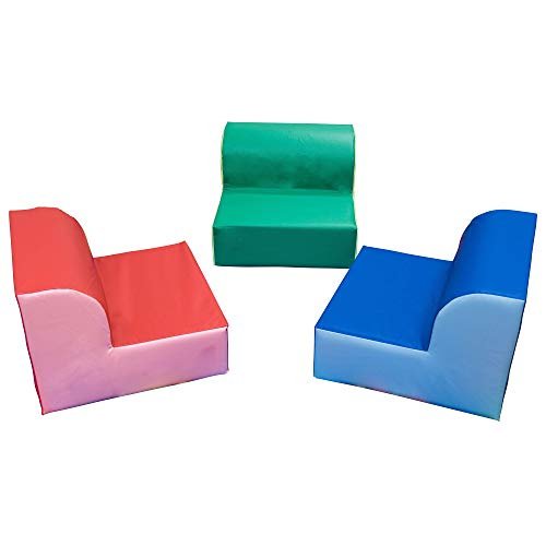 """Children's Factory-CF322-388 Children's Factory Library Trio Chairs, 20"""" by 20"""" by 15"""" Each (Set of 3) – Primary Colors – Comfortable Seating for a Range of Ages/Activities, Sturdy/Lightweight, Durable Wipe Clean Cover Material"""