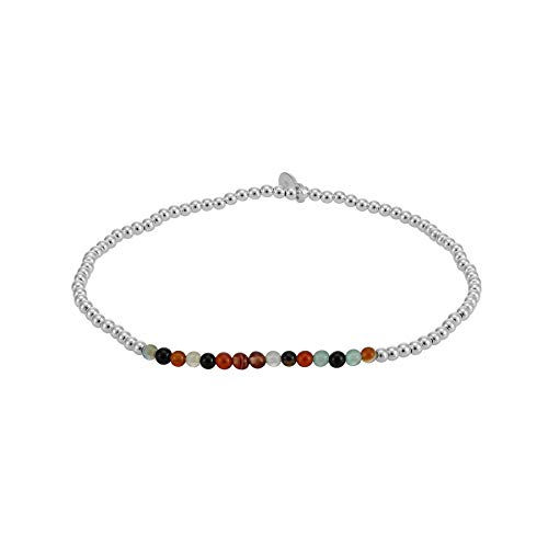 Silverly Women's .925 Sterling Silver 2 mm Small Thin Multicolour Ball Bead Elastic Stretch Bracelet