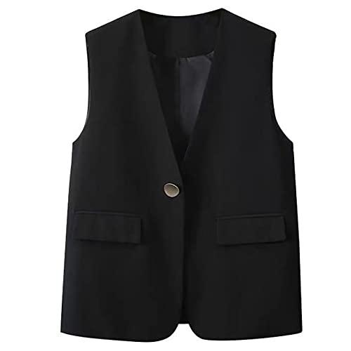 Agoky Chaleco Mujer Chica Vestimenta Classico Traje Formal de Fiesta Ceremonia Bautizo Boda Algodón Camisa sin Mangas V Cuello Botones Uniforme Camarera Suit Vest Waistcoat Negro B L