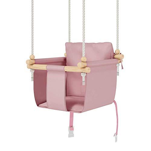 MAMOI Juego de columpio para bebé, columpio de madera, incluye cinturón de seguridad, ideal como columpio de bebé al aire libre, columpio de interior, columpio de jardín (Rosa)