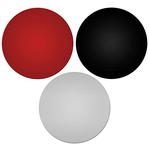 AIFUDA - Set di 3 tappetini in silicone per forno a microonde, rotondi, antiaderenti, resistenti al calore, colore: rosso, nero, grigio
