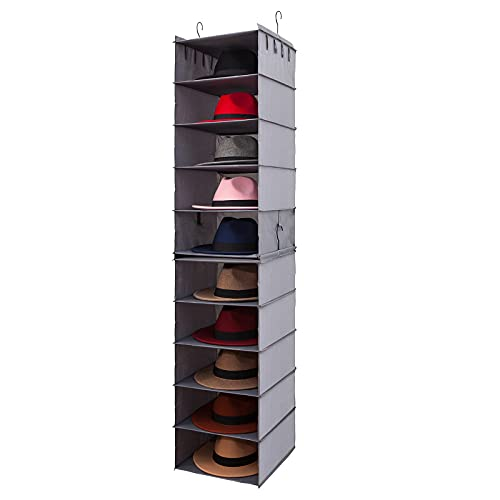 Fedora Hat Rack for Closet, 10-Shelf Hat Organizer for Sun Hat Panama Hat, 2 Separate 5-Shelf Hanging Closet Hat Organizer, Hat Storage Hat Hanger Hat Holder Oxford Cloth Fedora Hanging Hat Rack