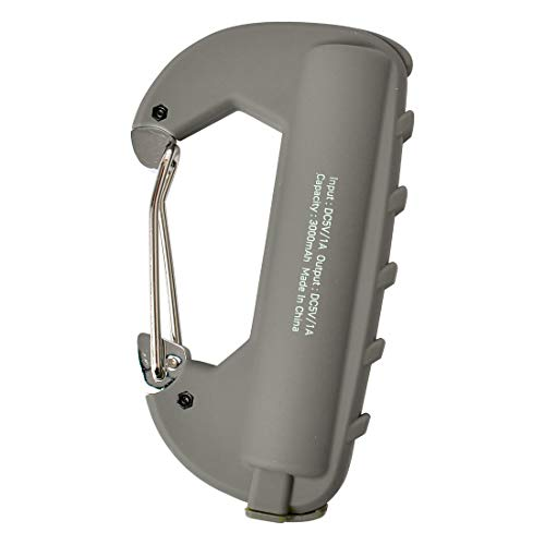 カラビナ モバイルバッテリー 軽量 防水 microUSBケーブル付属 充電 USBポート 小型 コンパクト 3000mAh IPX5 おしゃれ かっこいい