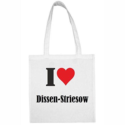 Tasche I Love Dissen-Striesow Größe 38x42 Farbe Weiss Druck Schwarz