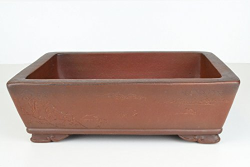 Unglazed 11' Retangularr Ceramic Antique Finish Bonsai Pots with Chinese Landscape(K4-11M)