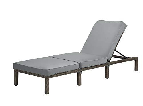 lettini da giardino matrimoniale AVANTI TRENDSTORE - Palaia - Lettino da giardino in polyrattan di colore grigio con schienale regolabile