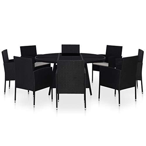 pedkit Conjunto de Mesa sillas,Mesa Salón y Sillas,Muebles de Jardin Exterior Conjuntos Set Comedor de jardín 9 Piezas y Cojines ratán sintético Negro