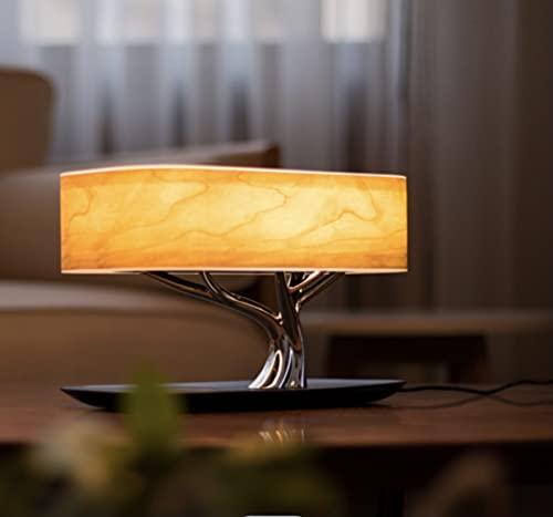 CUIRUILIAN LED Tischleuchte Wireless-Ladegerät Nachttischlampe Mit Bluetooth Lautsprechern Und Wireless-Ladegerät, Sleep Mode Stufenloser Dimmen