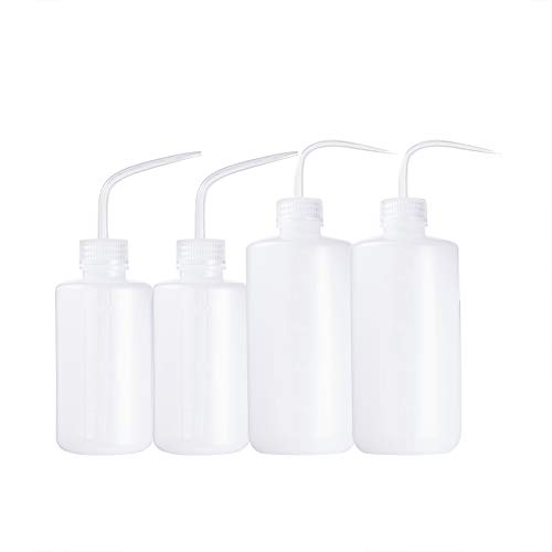PandaHall 4 unidades de 2 tamaños de plástico blando Sharp Beak Elbow Squeeze Bottle, para el riego de plantas suculentas, color blanco