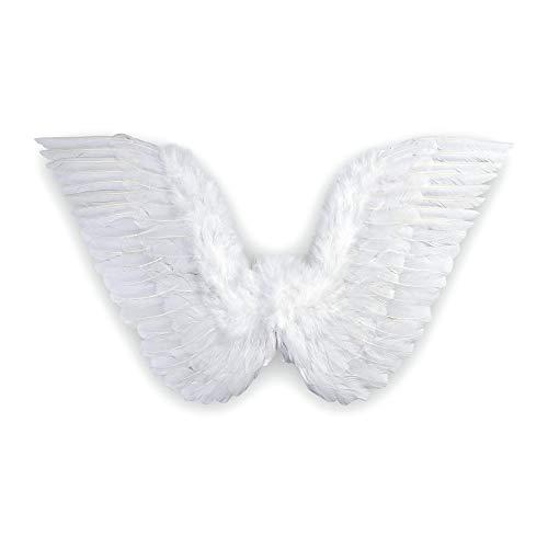 Widmann 8670A – Engelsflügel für Erwachsene, 86x31cm, mit weißen Federn, Feenflügel, Accessoire, Zubehör, Engel, Teufel, Weihnachten, Motto Party, Karneval