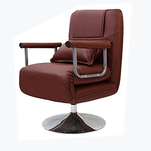 GANE Silla de Oficina ergonómica Plegable ejecutiva para el Almuerzo, reclinable de Doble propósito/Silla giratoria para Escritorio con Respaldo Plano (café Claro (Cuero))