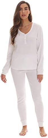 followme Womens Thermal Henley Jogger Pant Set 6790 WHT XL White product image