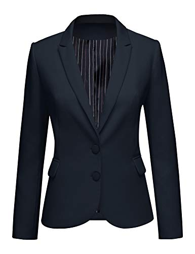 LookbookStore Women's Navy Notched Lapel Pocket Two Buttons Work Office Blazer Jacket Suit Size XL US 16 18