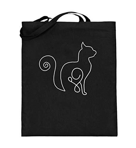 Kätzchen für Kater und Katzen-Fans - Jutebeutel (mit langen Henkeln) -38cm-42cm-Schwarz
