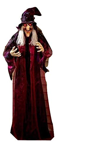 KNL Store 71' Life Size Hanging Animated Talking Witch Halloween Haunted House Prop Decor (1)