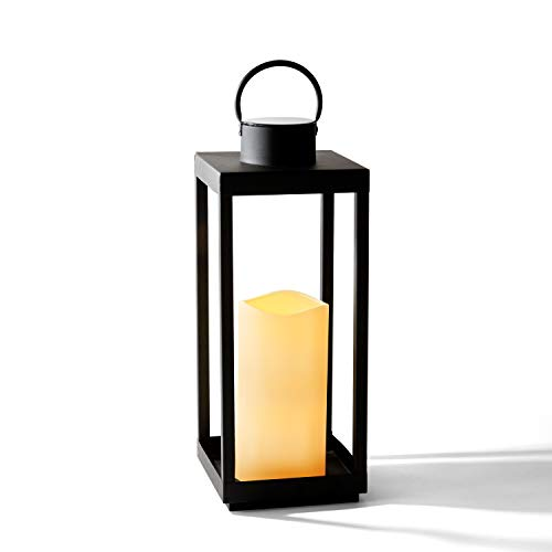 Large Outdoor Lantern with Solar Candle - 18 Inch Tall, Matte Black Metal Frame, Waterproof Flameless Pillar Candle, Dusk to Dawn Timer, Large Size for Floor or Patio Decor, Battery Included