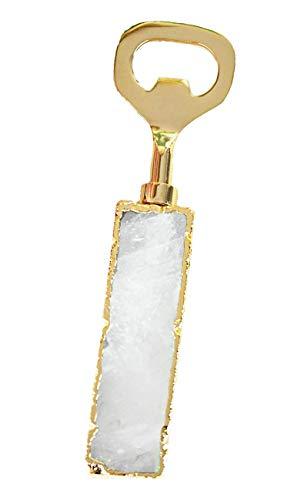 Nikita By Niki ® Crystal Agaat Clear Quartz/Amethist flesopener | Goud/Zilver vergulde rand | Luxe geschenkdoos Duidelijk Kwarts & Goud
